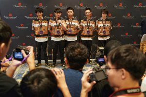 Dota 2 players of team RNG posing for a group photo on Aug. 19, 2019 shows  (Credit: STR/Getty)