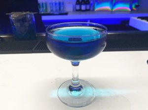 A Classic Blue cocktail was served as Pantone revealed its 2020 color of the year on Dec. 4, 2019. (Credit: Kirsi Goldynia / CNN)