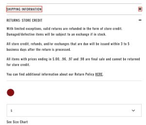 This image shows Fashion Nova's return policy for a dress on Dec. 19, 2019, as listed on its website.