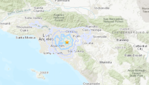 A U.S. Geological Survey map shows the area near Brea where a preliminary magnitude 3.3 struck at 9:23 a.m. on Dec. 28, 2019.