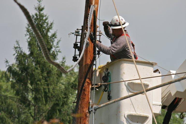 Power Line Repair in Maryland Following Hurricane Irene