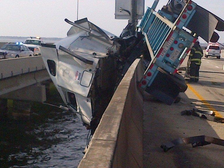 Tractor Trailer Over Bridge