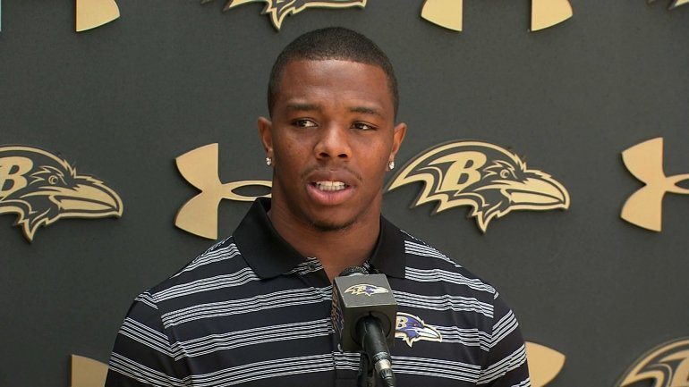 "Ray Rice, the Baltimore Ravens running back suspended by the NFL for two games after video showed him dragging his then-fiancée (now his wife) from an elevator, told reporters on Thursday, July 31, 2014 his actions were ""inexcusable."" Photo Credit: CNN"