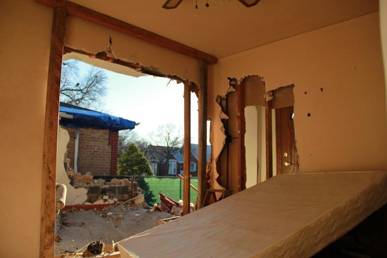 The Rolinskas bedroom after the plane crash. Photo courtesy of Corboy & Demetrio.