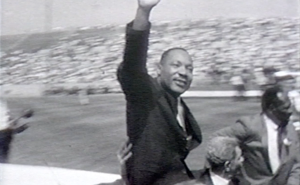 Martin Luther King Jr. waves at a crowd of 35,000 at Soldier Field on July 10, 1966.