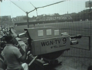 A WGN-TV 9 camera inside Wrigley Field before a game on July 27, 1962.