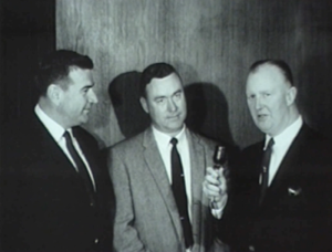WGN reporter Jack Brickhouse interviews new athletic director of Chicago Cubs Colonel Robert V. Whitlow and manager Bobby Kennedy in 1963.