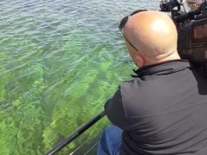 Award-winning WGN Cruisin' Wisconsin photographer, Sean Maroney, shooting the site of a shipwreck near Washington Island in northern Door County.