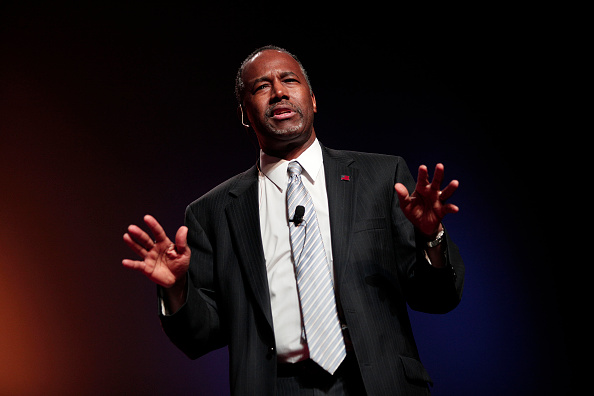 Republican Dr. Ben Carson, a retired pediatric neurosurgeon, speaks as he officially announces his candidacy for President of the United States at the Music Hall Center for the Performing Arts May 4, 2015 in Detroit, Michigan. (Getty Images.)