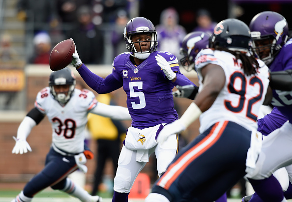 Teddy Bridgewater #5 of the Minnesota Vikings looks to pass the ball against the Chicago Bears during the first quarter of the game on December 20, 2015 at TCF Bank Stadium in Minneapolis, Minnesota. (Photo by Hannah Foslien/Getty Images)