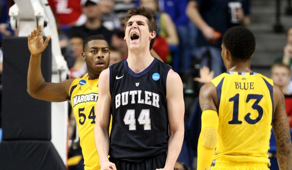 Andrew Smith #44 of the Butler Bulldogs reacts after a play against the Marquette Golden Eagles in the first half during the third round of the 2013 NCAA Men's Basketball Tournament at Rupp Arena on March 23, 2013 in Lexington, Kentucky. (Photo by Andy Lyons/Getty Images)