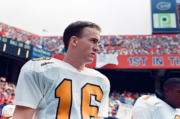 Peyton Manning of the Tennessee Volunteers looks on against the Florida Gators on September 20, 1997. (Photo by Sporting News via Getty Images)