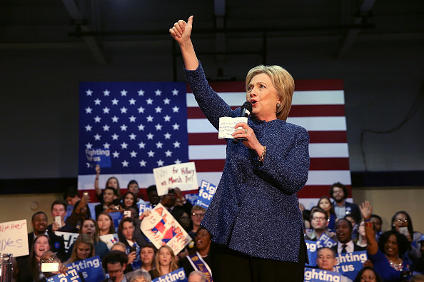 """FAIRFIELD, AL - FEBRUARY 27: Democratic presidential candidate former Secretary of State Hillary Clinton speaks during a """"Get Out The Vote"""" at Miles College on February 27, 2016 in Fairfield, Alabama. Hillary Clinton held a campaign rally in Alabama before returning to South Carolina for her South Carolina primary night event. (Photo by Justin Sullivan/Getty Images)"""