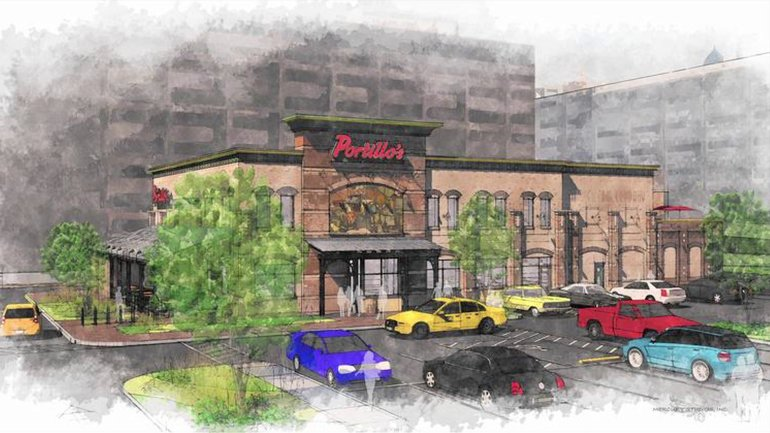 A drawing of the Portillo's restaurant planned for 520 W. Taylor St.