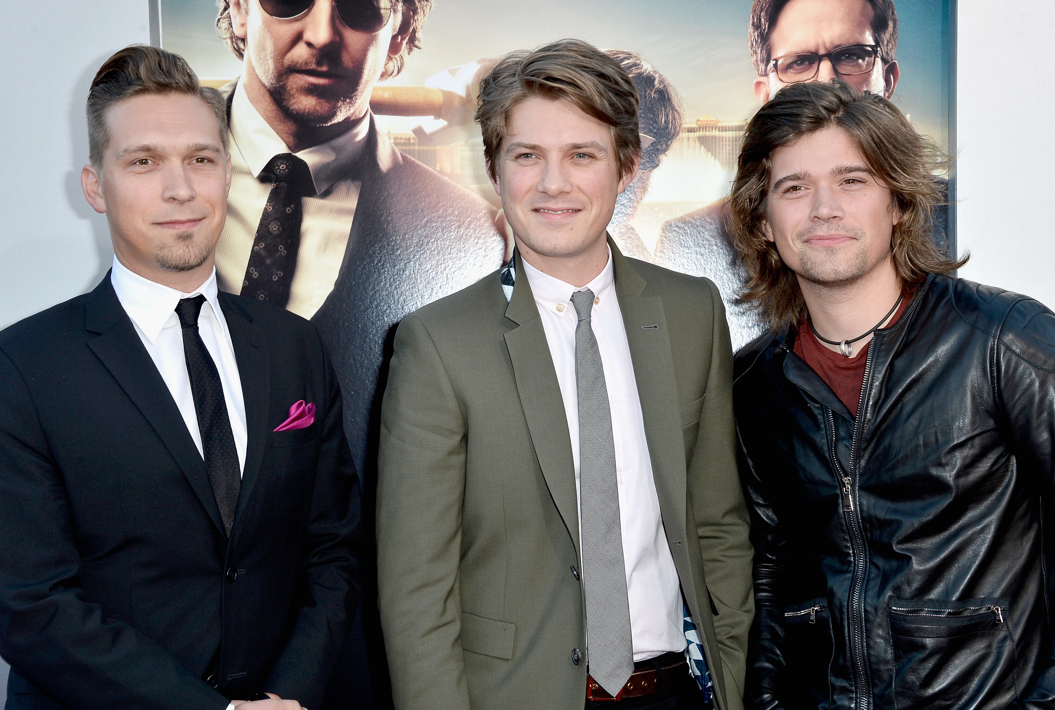 """WESTWOOD, CA - MAY 20:  (L-R) Recording artists Issac Hanson, Taylor Hanson and Zac Hanson of Hanson attend the premiere of Warner Bros. Pictures' """"Hangover Part 3"""" at Westwood Village Theater on May 20, 2013 in Westwood, California.  (Photo by Frazer Harrison/Getty Images)"""