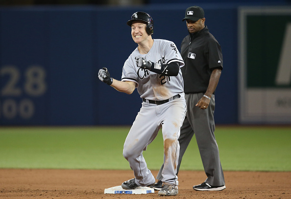 Todd Frazier #21 of the Chicago White Sox celebrates after hitting a two-run double in the seventh inning during MLB game action against the Toronto Blue Jays on April 25, 2016 at Rogers Centre in Toronto, Ontario, Canada. (Photo by Tom Szczerbowski/Getty Images)