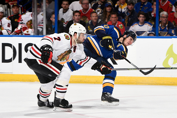 Alexander Steen #20 of the St. Louis Blues shoots as Brent Seabrook #7 of the Chicago Blackhawks defends in Game Seven of the Western Conference First Round during the 2016 NHL Stanley Cup Playoffs at the Scottrade Center on April 25, 2016 in St. Louis, Missouri. (Photo by Scott Rovak/NHLI via Getty Images)