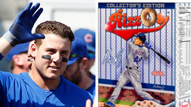 """Chicago Cubs star Anthony Rizzo introduces his new cereal """"RizzO's."""""""