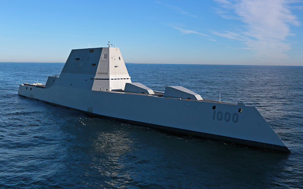 The Zumwalt is the largest destroyer ever built for the U.S. Navy.  (Photo by U.S. Navy/General Dynamics Bath Iron Works via Getty Images)