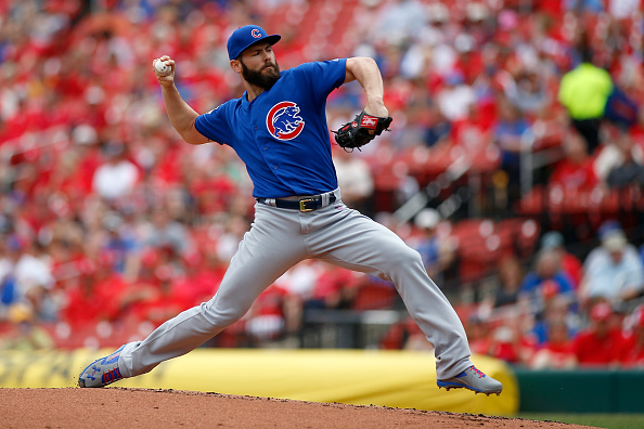 Jake Arrieta #49 of the Chicago Cubs pitches against the St. Louis Cardinals during the first inning at Busch Stadium on May 25, 2016 in St. Louis, Missouri. (Photo by Scott Kane/Getty Images)