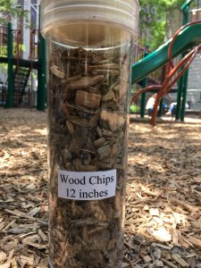 Try to find playground with safe surfaces, such as woodchip bed that is at least 12 inches deep