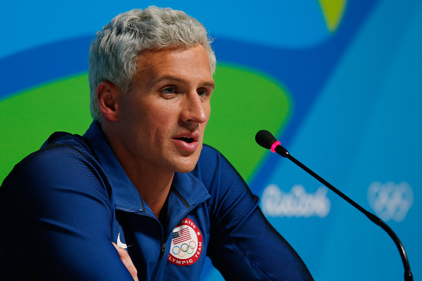 Ryan Lochte of the United States attends a press conference in the Main Press Centre on Day 7 of the Rio Olympics on August 12, 2016 in Rio de Janeiro, Brazil. (Getty Images.)
