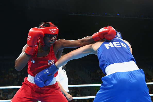 Claressa Maria Shields of the United States and Nouchka Fontijn of the Netherlands compete during the Women's Middle (69-75kg) Final Bout on Day 16 of the Rio 2016 Olympic Games at Riocentro - Pavilion 6 on August 21, 2016 in Rio de Janeiro, Brazil.  (Photo by Alex Livesey/Getty Images)