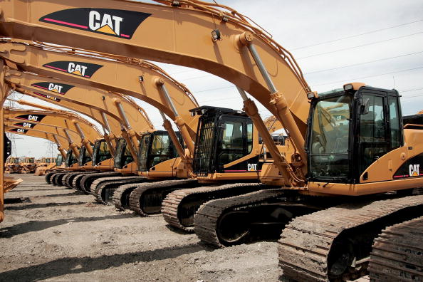 File photo: Caterpillar earth moving equipment is displayed at Patten Industries on April 24, 2006 in Elmhurst, Illinois. (Photo by Scott Olson/Getty Images)