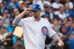 Former Chicago Cubs pitcher Kerry Wood is introduced prior to game four of the National League Division Series between the Chicago Cubs and the St. Louis Cardinals at Wrigley Field on October 13, 2015 in Chicago, Illinois. (Photo by David Banks/Getty Images)