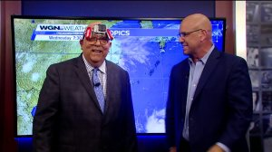 "Tom Skilling wears a ""SkillingCam"" during the WGN Morning News Primetime Special"
