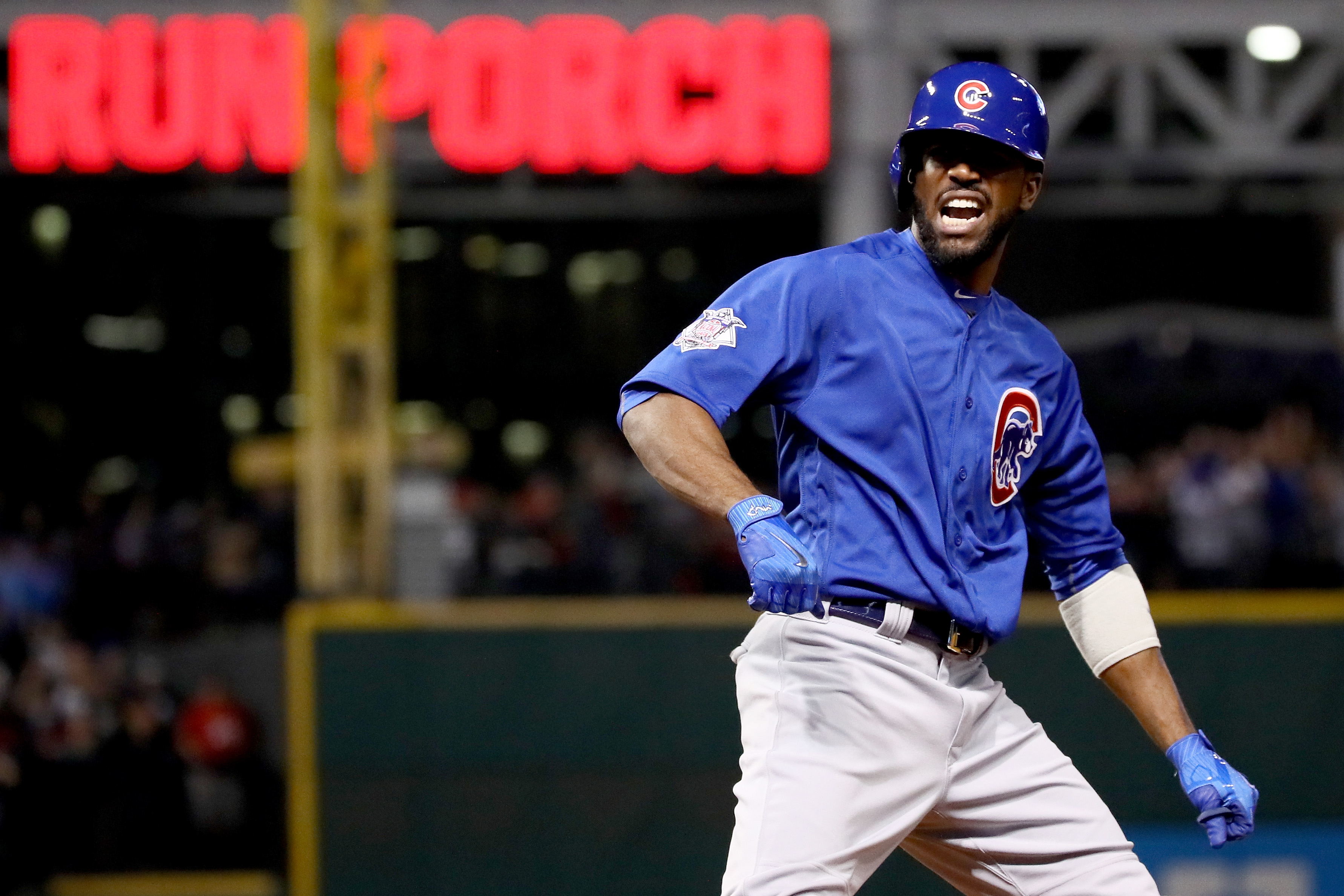 CLEVELAND, OH - NOVEMBER 02: Dexter Fowler #24 of the Chicago Cubs celebrates after hitting a lead off home run in the first inning against the Cleveland Indians in Game Seven of the 2016 World Series at Progressive Field on November 2, 2016 in Cleveland, Ohio. (Photo by Ezra Shaw/Getty Images)