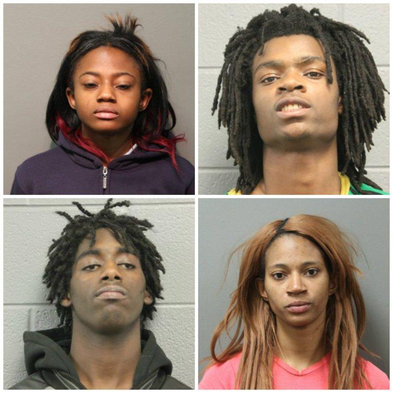 Top row: Brittany Covington, Tesfaye Cooper; Bottom row: Jordan Hill, Tanishia Covington. Photos courtesy of Chicago police