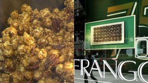 Close up of Garrett's Popcorn (left) and a 2005 Marshall Field's State Street window featuring Frango Mints