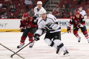 GLENDALE, AZ - SEPTEMBER 26:  Michael Latta #17 of the Los Angeles Kings skates with the puck during the preseason NHL game against the Arizona Coyotes at Gila River Arena on September 26, 2016 in Glendale, Arizona.  (Photo by Christian Petersen/Getty Images)