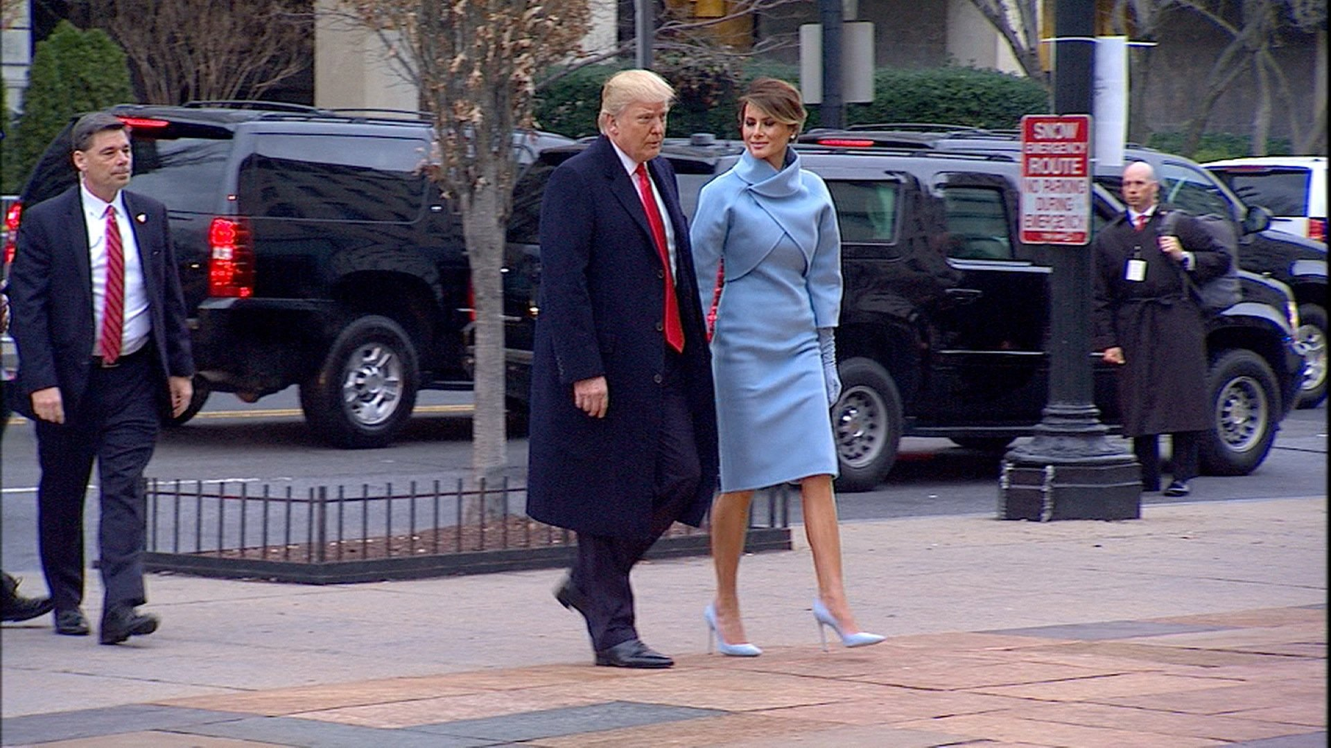 Donald Trump and Melania attending church service. Trump began a day of ceremony Friday morning by attending a traditional inauguration day service at Saint John's Church, across Lafayette Square from the White House.