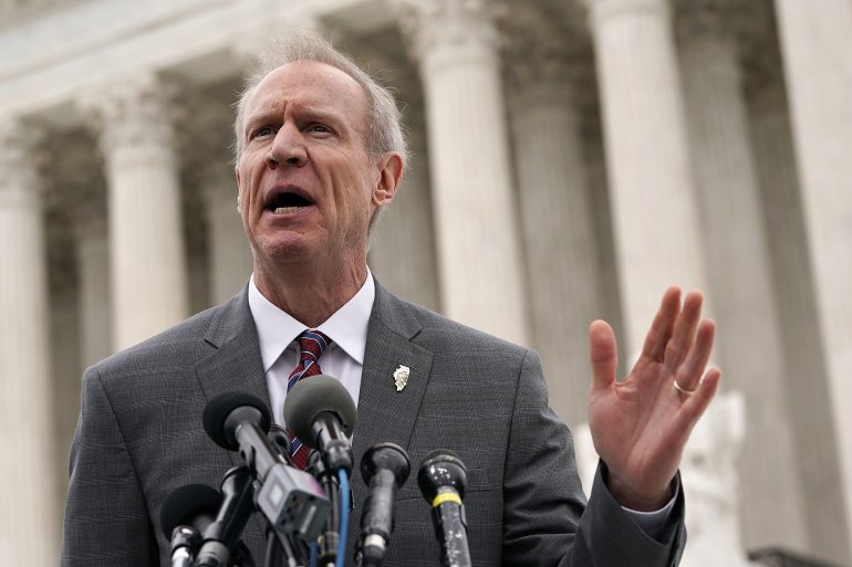 WASHINGTON, DC - FEBRUARY 26: Governor of Illinois Bruce Rauner speaks to members of the media in front of the U.S. Supreme Court after a hearing on February 26, 2018 in Washington, DC. The court is hearing the case, Janus v. AFSCME, to determine whether states violate their employees' First Amendment rights to require them to join public sector unions which they may not want to associate with.