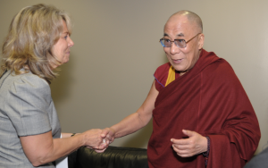 Barb Schmidt with Dalai Lama