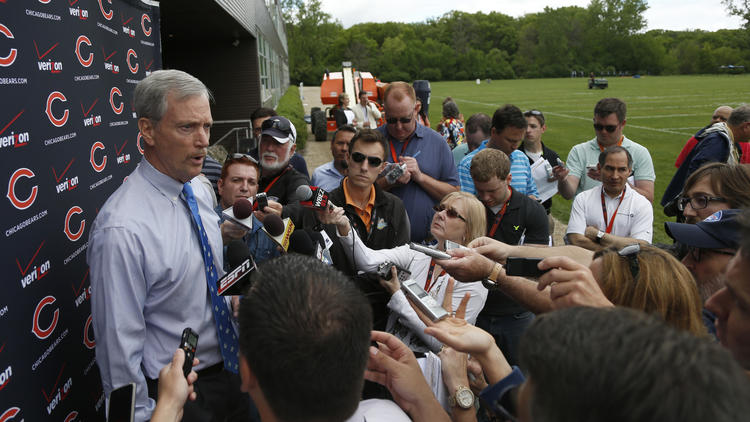 George McCaskey takes questions at Halas Hall. (Chicago Tribune)
