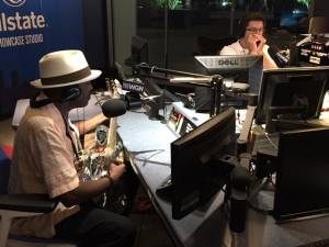 Fernando Jones (L) and Mike Stephen get a blues jam going in the Allstate Showcase Studio.
