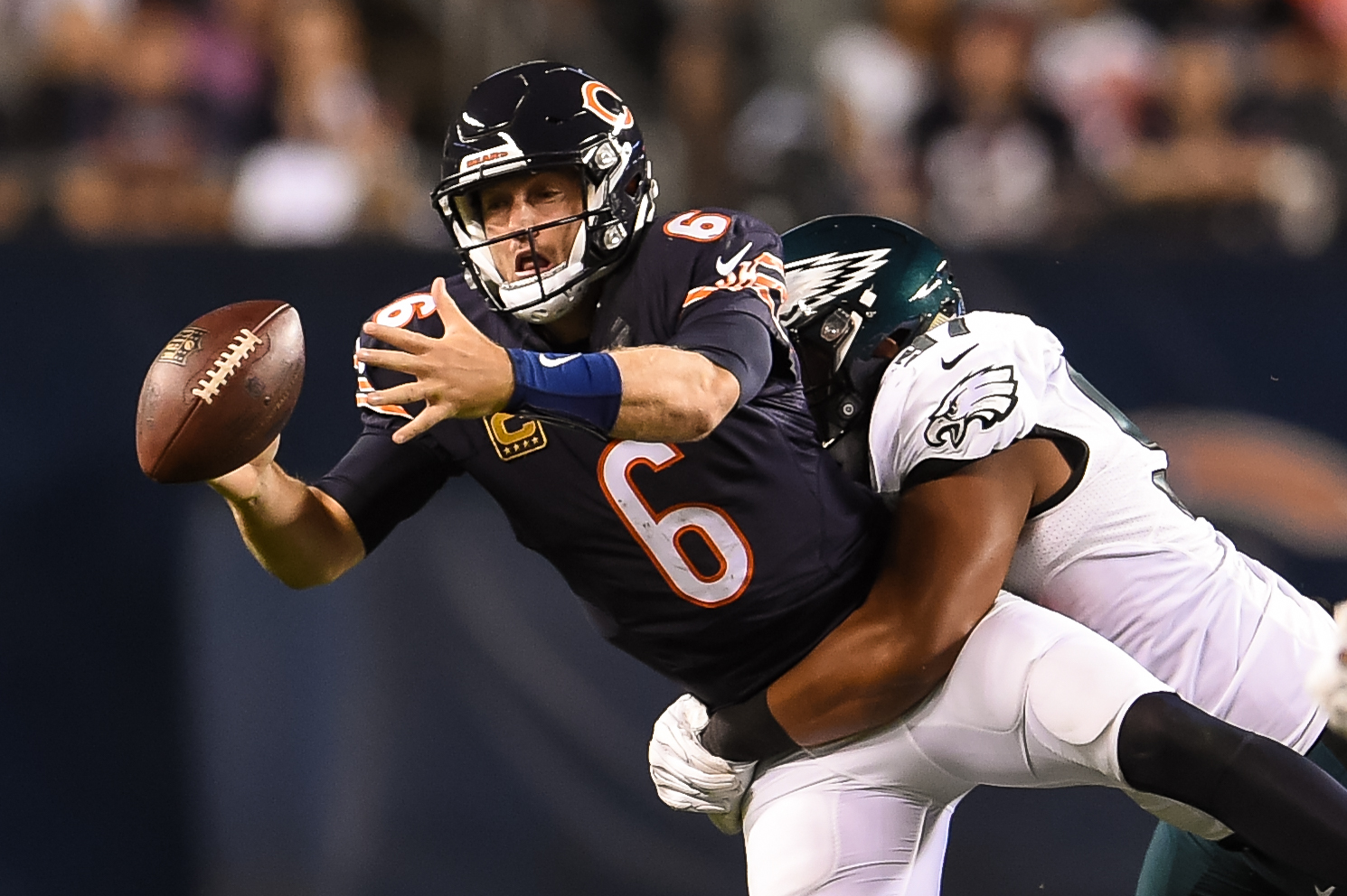 Jay Cutler fumbles the ball Monday night against the Eagles. (Photo by Stacy Revere/Getty Images)