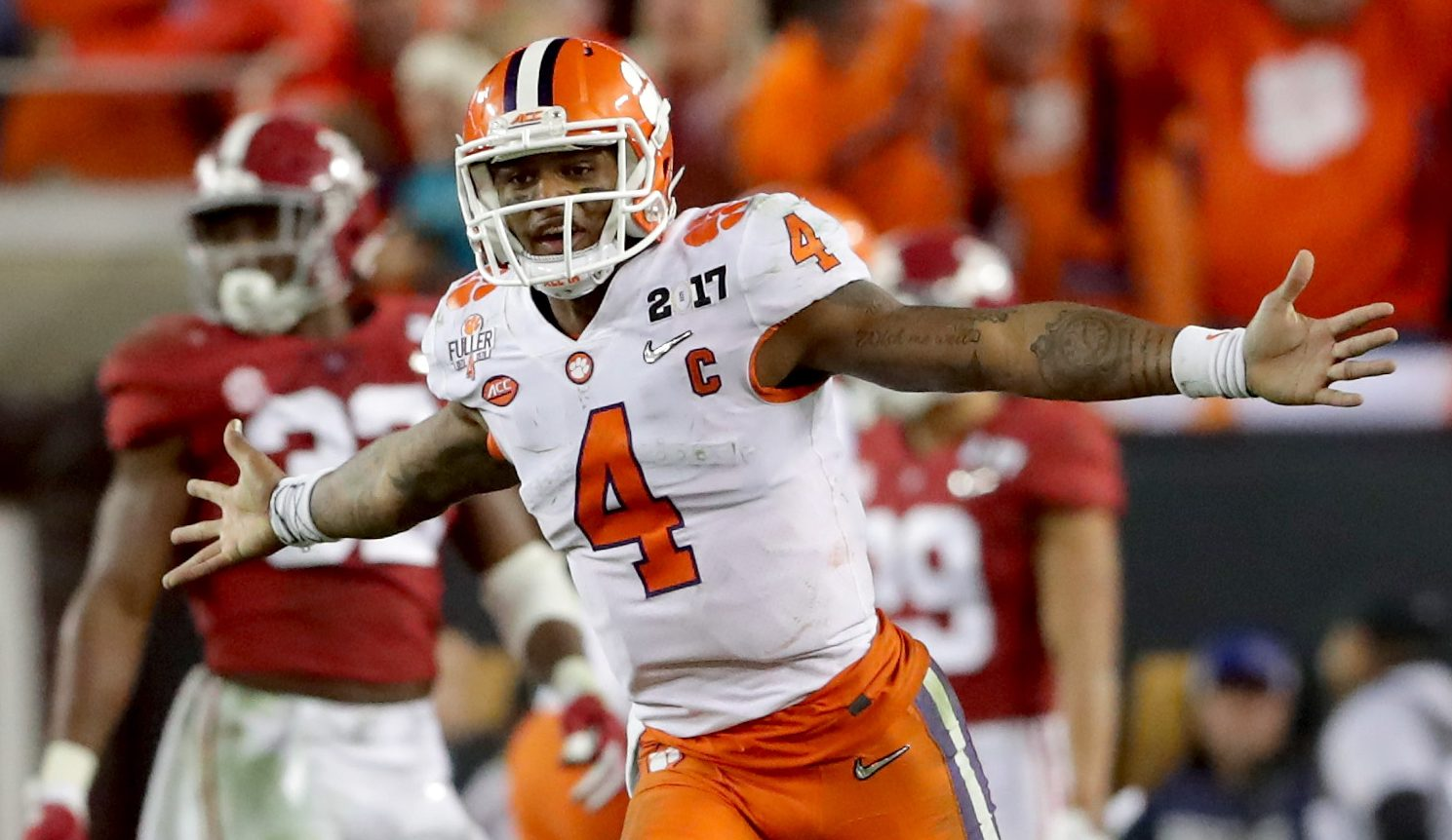 DeShaun Watson celebrating at the National Championship Game. (Photo by Streeter Lecka/Getty Images)