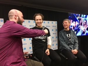 Justin Kaufmann with WE Day Co-Founder Craig Kielburger and Allstate Chairman and CEO Tom Wilson