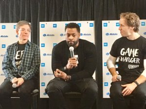 Allstate Chairman and CEO Tom Wilson, Chicago PD's LaRoyce Hawkins and WE Day Co-Founder Craig Kielburger