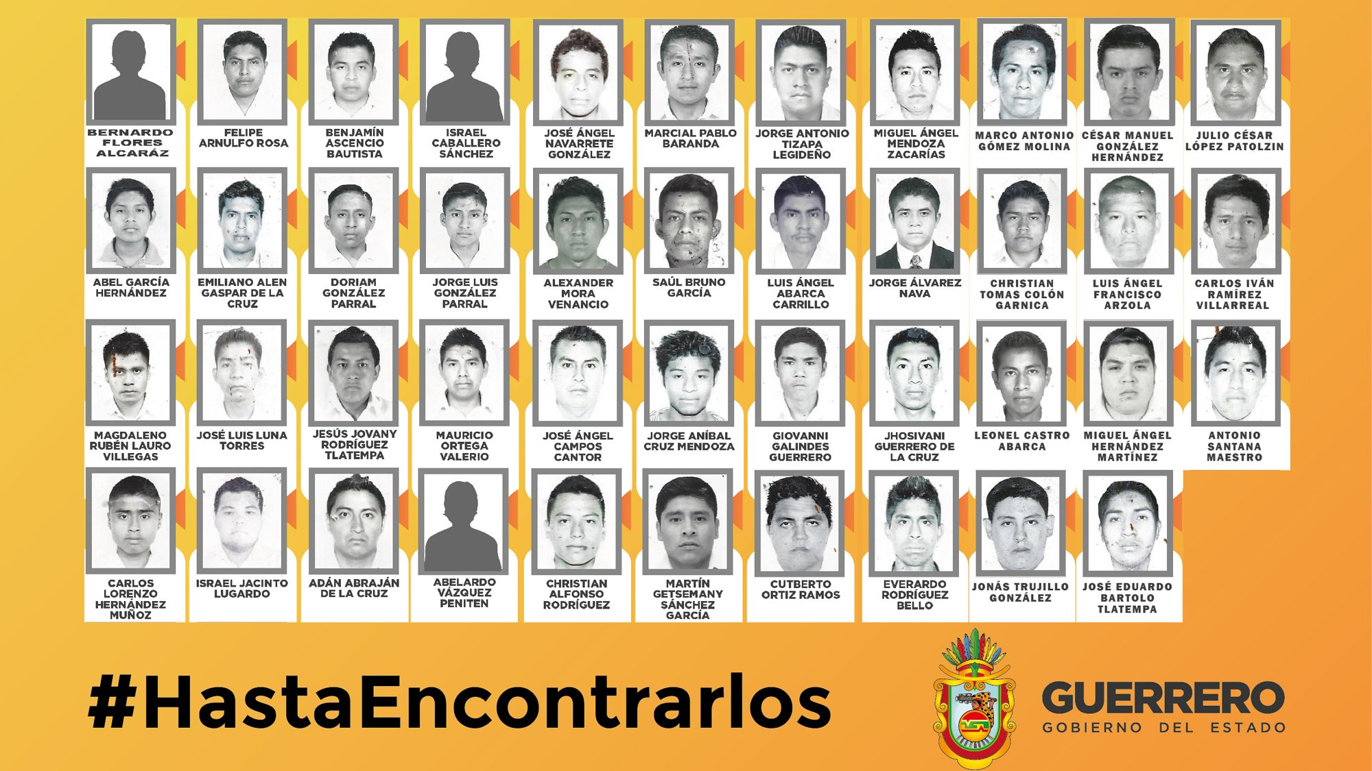 Forty-three students remain missing after armed men ambushed buses carrying students in southern Mexico on on September 26 .The Mexican state of Guerrero posted images and offered a reward of 1 million pesos ($74,000) for information leading to the missing students. Images of three missing students were not available. Credit:Guerrero State Government