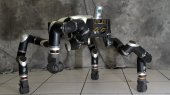 The RoboSimian disaster-response robot has four limbs, seven cameras and a LiDAR system. Together, the limbs ably move the robot across rough terrain and rubble but can also pick up and manipulate objects.