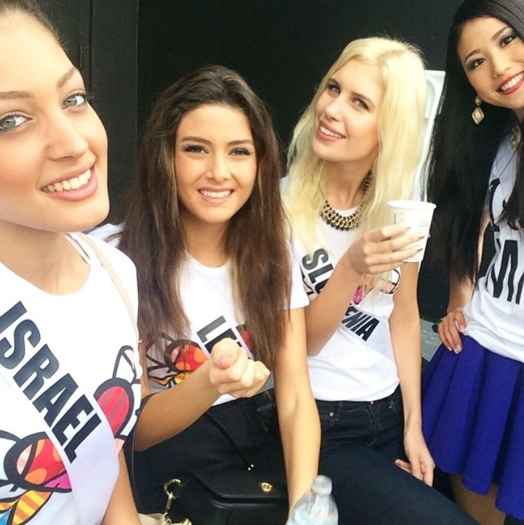 01/11/2015 Miss Lebanon Saly Greige (second from left) distanced herself from a photo showing her and Miss Israel Doron Matalon (far left) after the photo caused an online uproar Sunday, Jan. 11, 2015. Credit: doronmatalon/Instagram