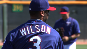 Seahawks QB Russell Wilson dropped by the Rangers Spring Training on Saturday.