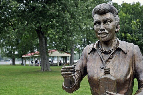 CREDIT: We Love Lucy! Get Rid of this Statue/Facebook Some residents of Lucille Ball's hometown say this statue of her looks more like actor Steve Buscemi.