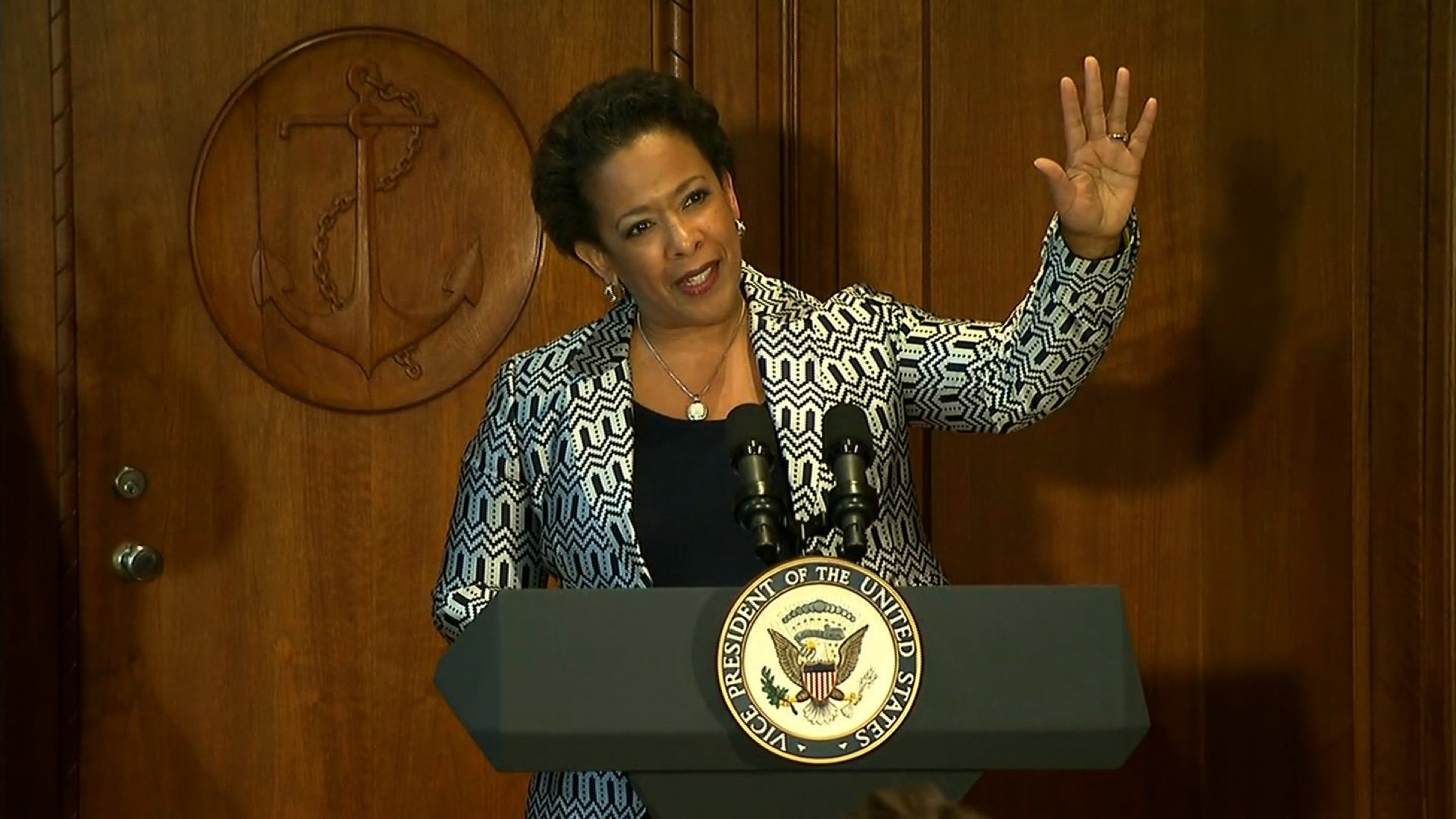 "Loretta Lynch was sworn in as the new U.S. attorney general on Monday, replacing Eric Holder. Lynch, the country's first African-American woman to serve in the role, had her nomination held up more than five months over politicking in the Senate. ""Ladies and gentlemen, it's about time,"" said Vice President Joe Biden at the swearing in ceremony. The Senate voted 56-43 on Thursday to confirm Lynch."