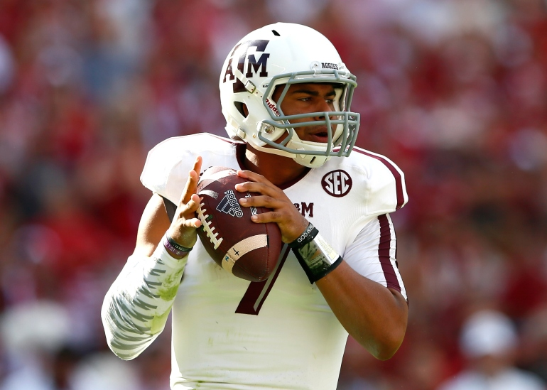 TUSCALOOSA, AL - OCTOBER 18:  Kenny Hill #7 of the Texas A&M Aggies looks to pass against the Alabama Crimson Tide at Bryant-Denny Stadium on October 18, 2014 in Tuscaloosa, Alabama.  (Photo by Kevin C. Cox/Getty Images)